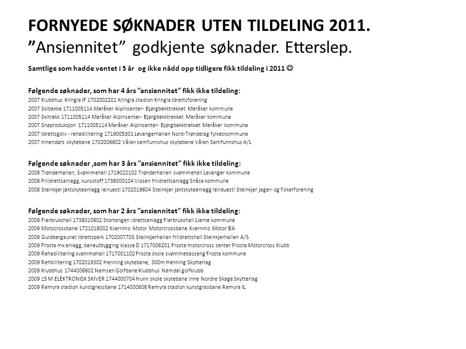 FORNYEDE SØKNADER UTEN TILDELING 2011. Ansiennitet godkjente søknader. Etterslep.