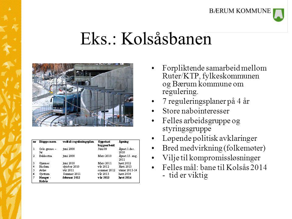 Eks.: Kolsåsbanen Forpliktende samarbeid mellom Ruter/KTP, fylkeskommunen og Bærum kommune om regulering.