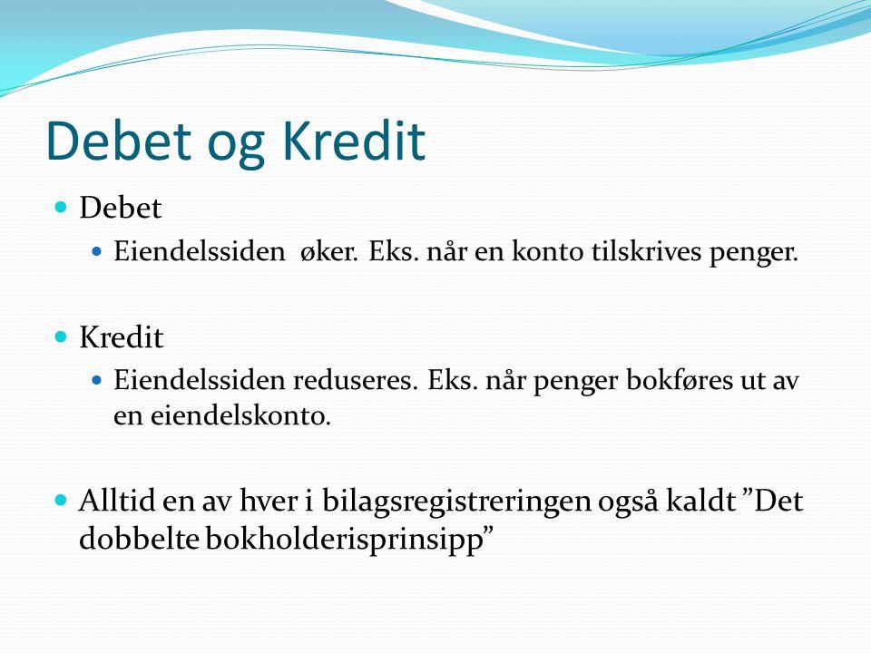 Debet og Kredit Debet Kredit