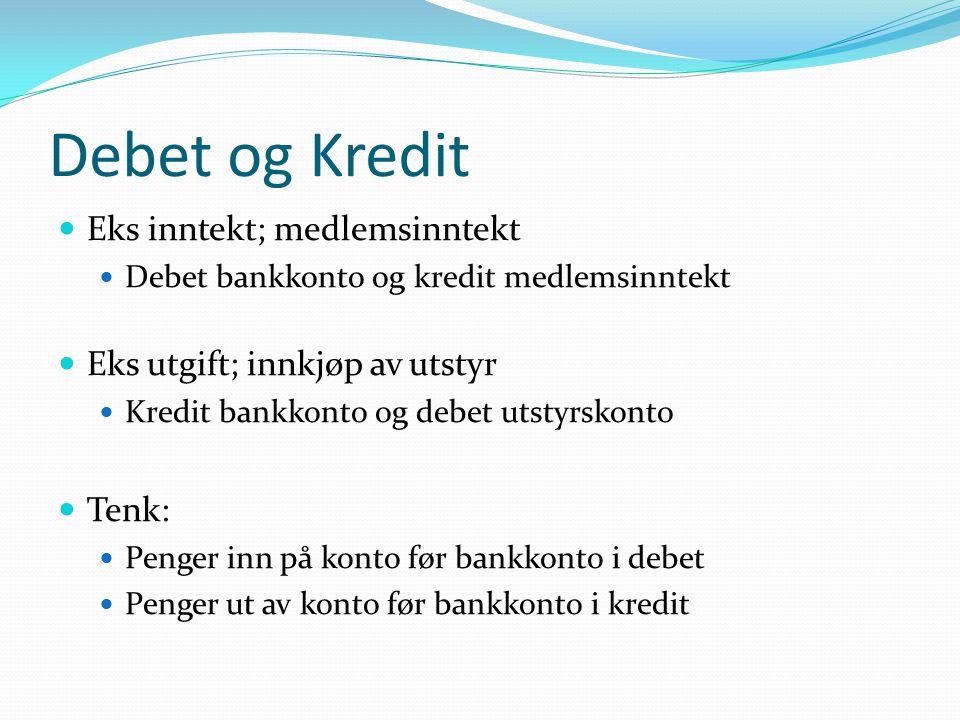 Debet og Kredit Eks inntekt; medlemsinntekt
