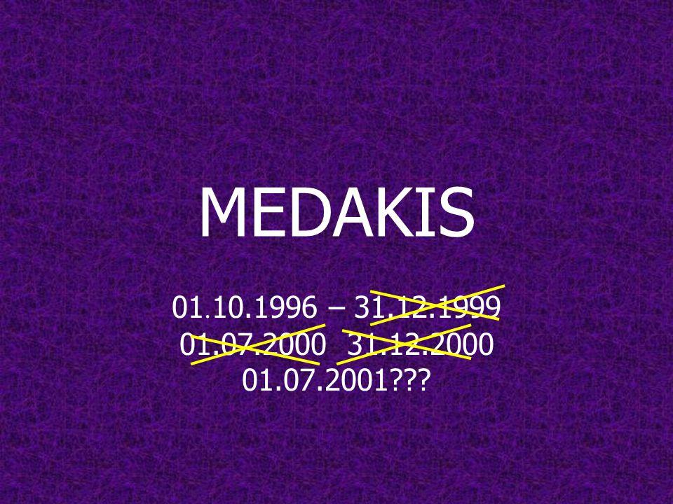MEDAKIS 01.10.1996 – 31.12.1999 01.07.2000 31.12.2000 01.07.2001