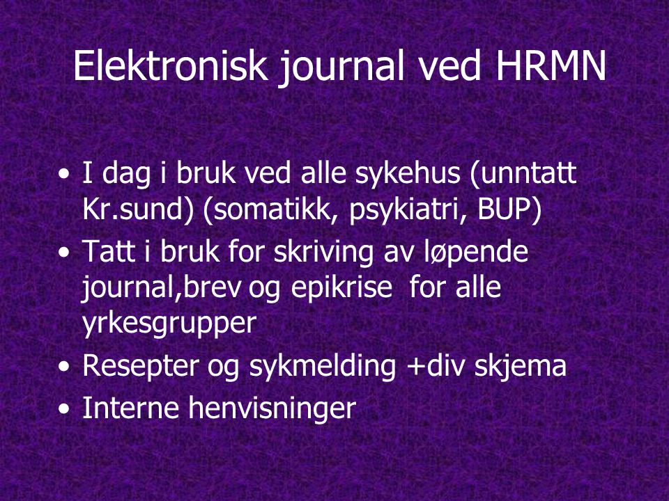 Elektronisk journal ved HRMN