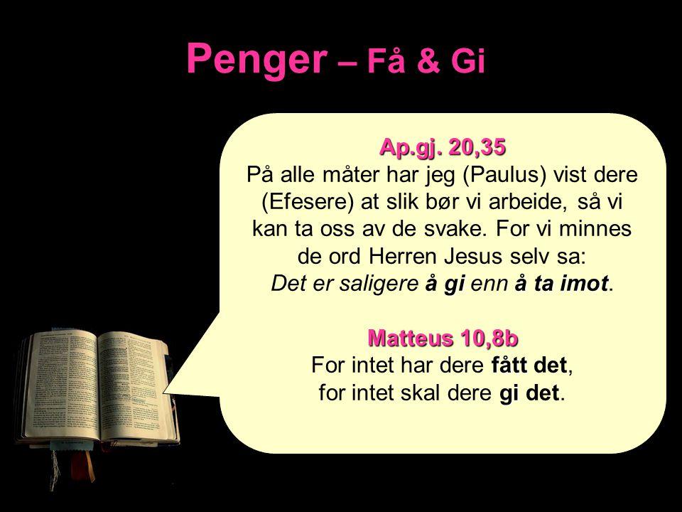 Penger – Få & Gi Ap.gj. 20,35.