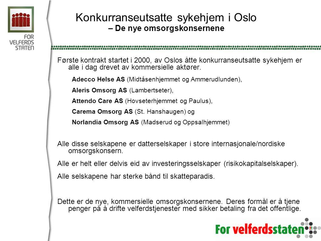 Konkurranseutsatte sykehjem i Oslo – De nye omsorgskonsernene