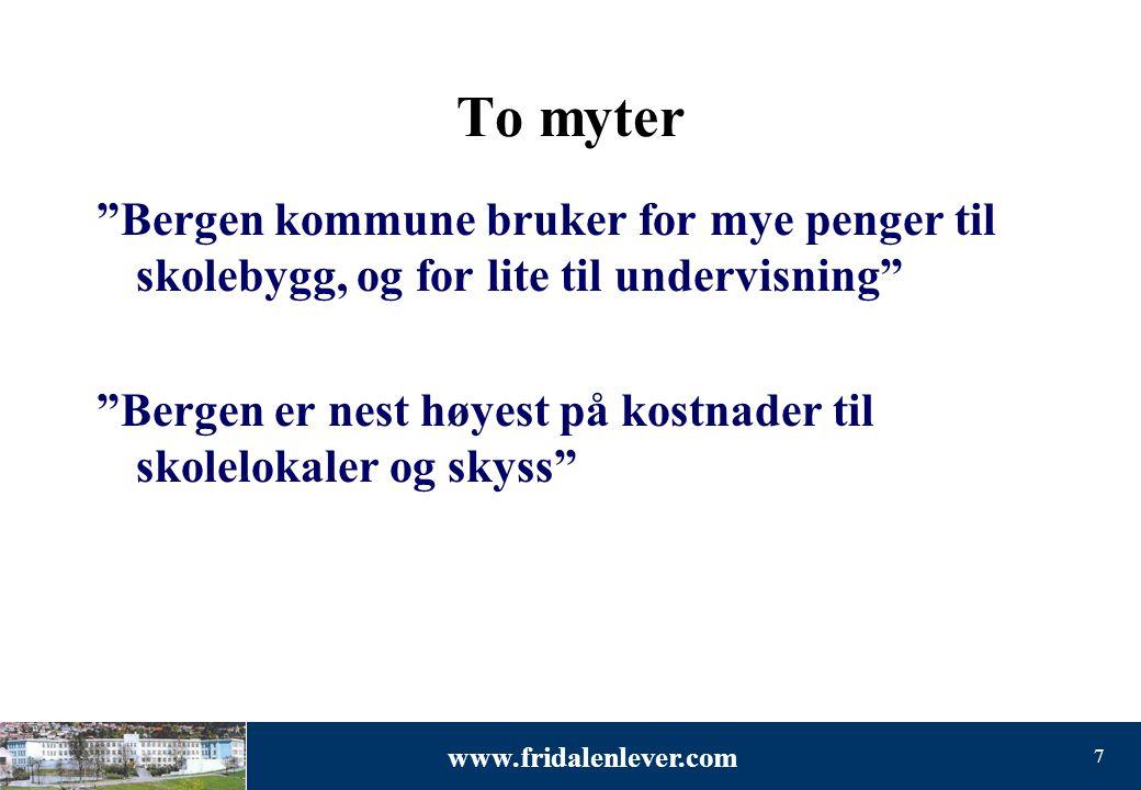 To myter Bergen kommune bruker for mye penger til skolebygg, og for lite til undervisning