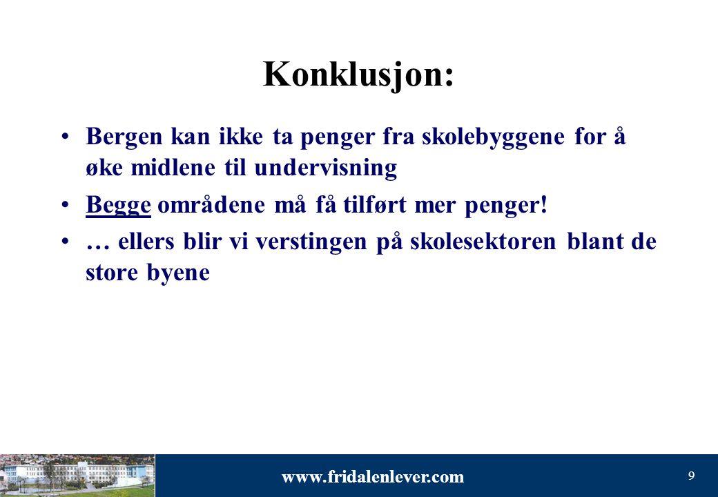Konklusjon: Bergen kan ikke ta penger fra skolebyggene for å øke midlene til undervisning. Begge områdene må få tilført mer penger!