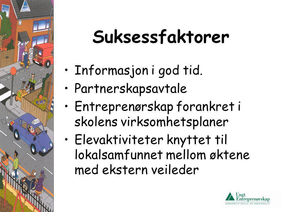 Suksessfaktorer Informasjon i god tid. Partnerskapsavtale