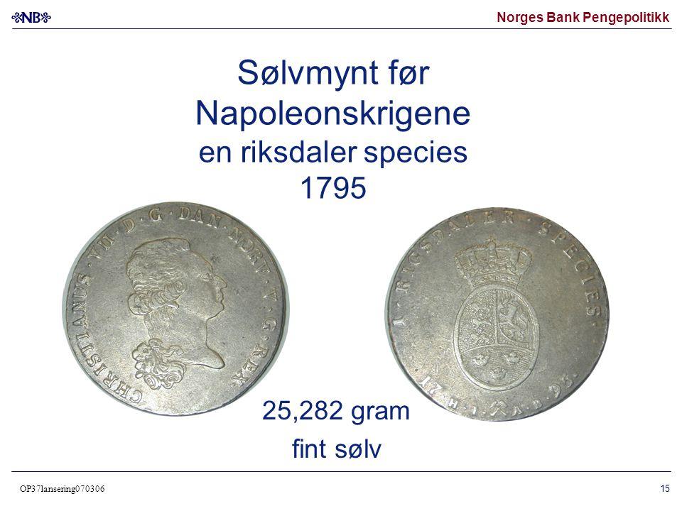 Sølvmynt før Napoleonskrigene en riksdaler species 1795