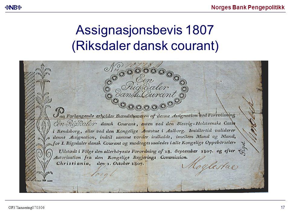 Assignasjonsbevis 1807 (Riksdaler dansk courant)