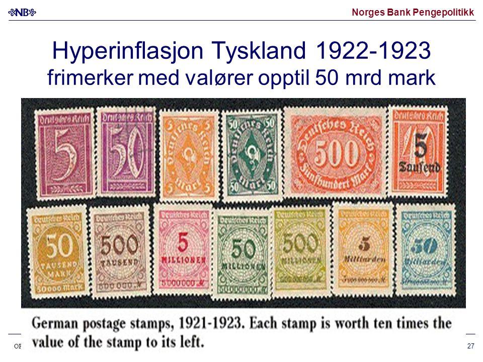 Hyperinflasjon Tyskland 1922-1923 frimerker med valører opptil 50 mrd mark