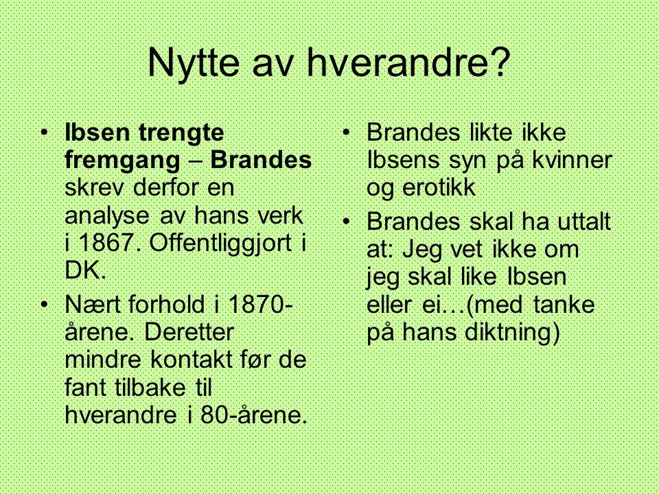 Nytte av hverandre Ibsen trengte fremgang – Brandes skrev derfor en analyse av hans verk i 1867. Offentliggjort i DK.