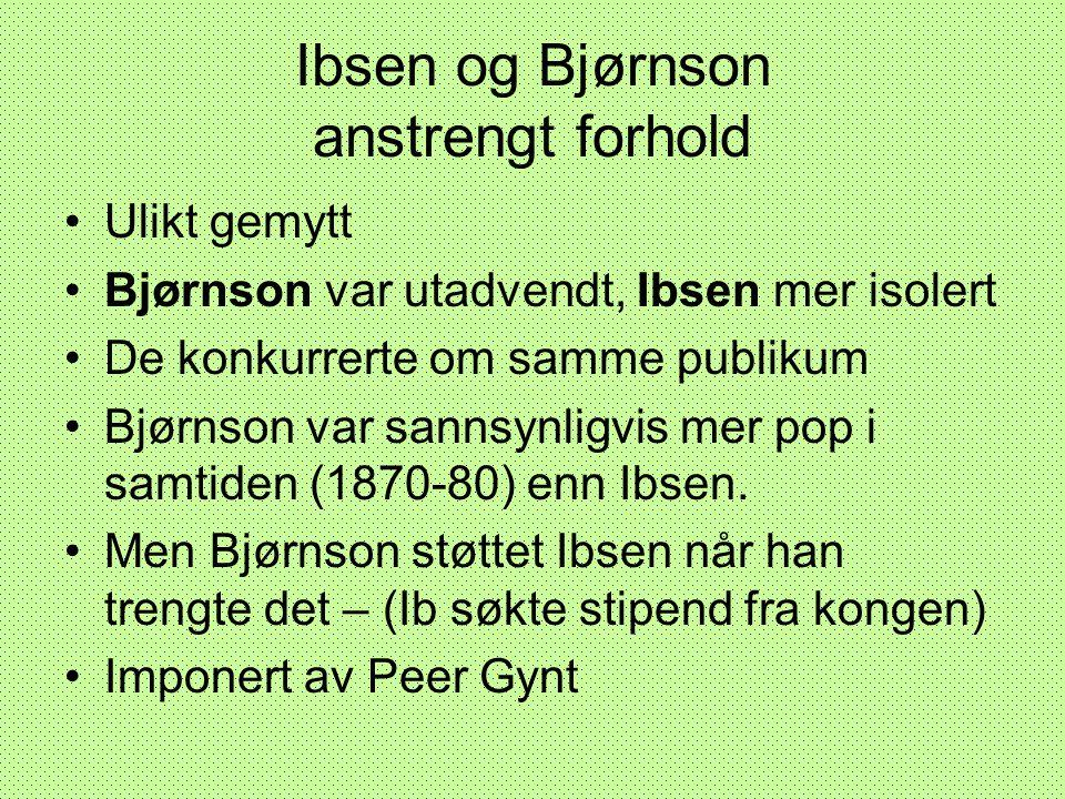 Ibsen og Bjørnson anstrengt forhold