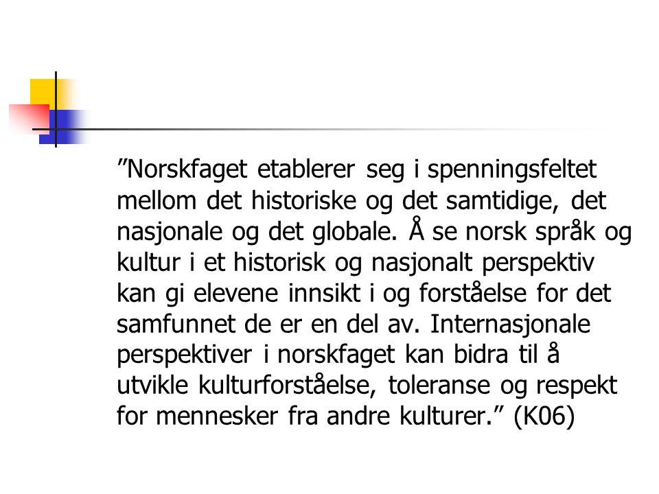 Norskfaget etablerer seg i spenningsfeltet mellom det historiske og det samtidige, det nasjonale og det globale.
