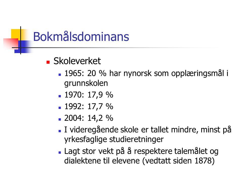 Bokmålsdominans Skoleverket
