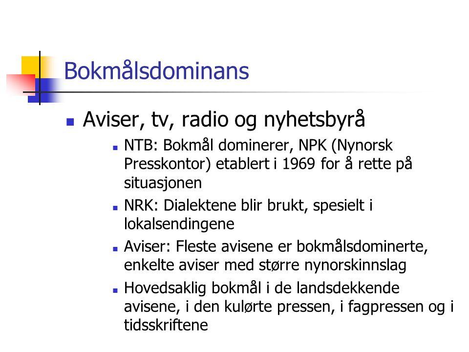 Bokmålsdominans Aviser, tv, radio og nyhetsbyrå
