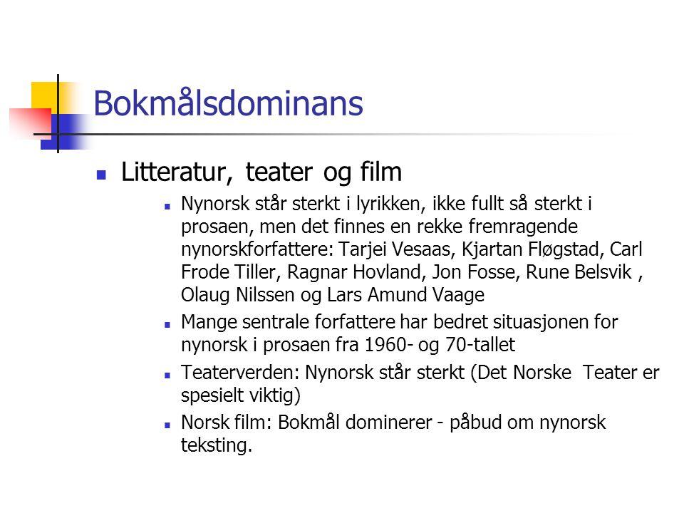 Bokmålsdominans Litteratur, teater og film