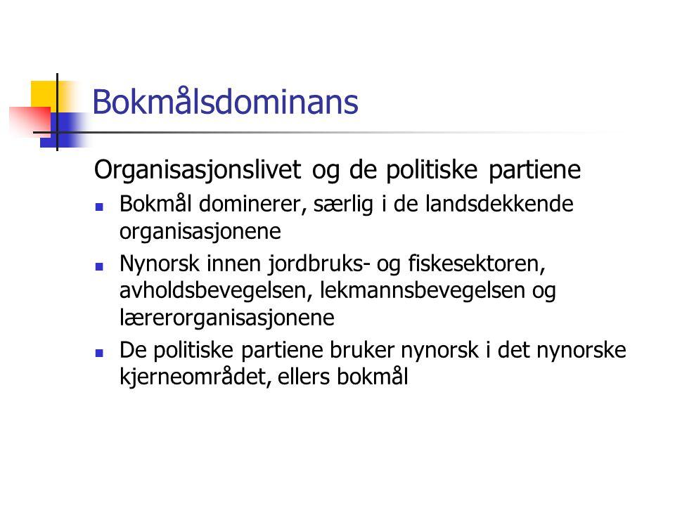 Bokmålsdominans Organisasjonslivet og de politiske partiene