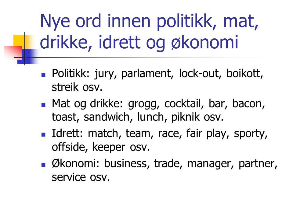 Nye ord innen politikk, mat, drikke, idrett og økonomi