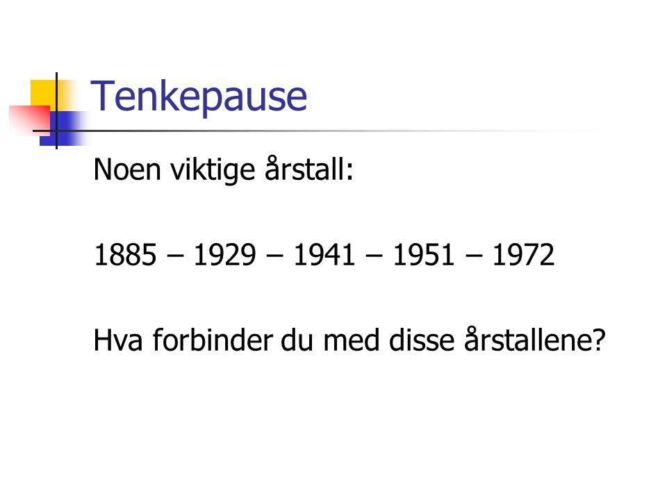 Tenkepause Noen viktige årstall: 1885 – 1929 – 1941 – 1951 – 1972 Hva forbinder du med disse årstallene.