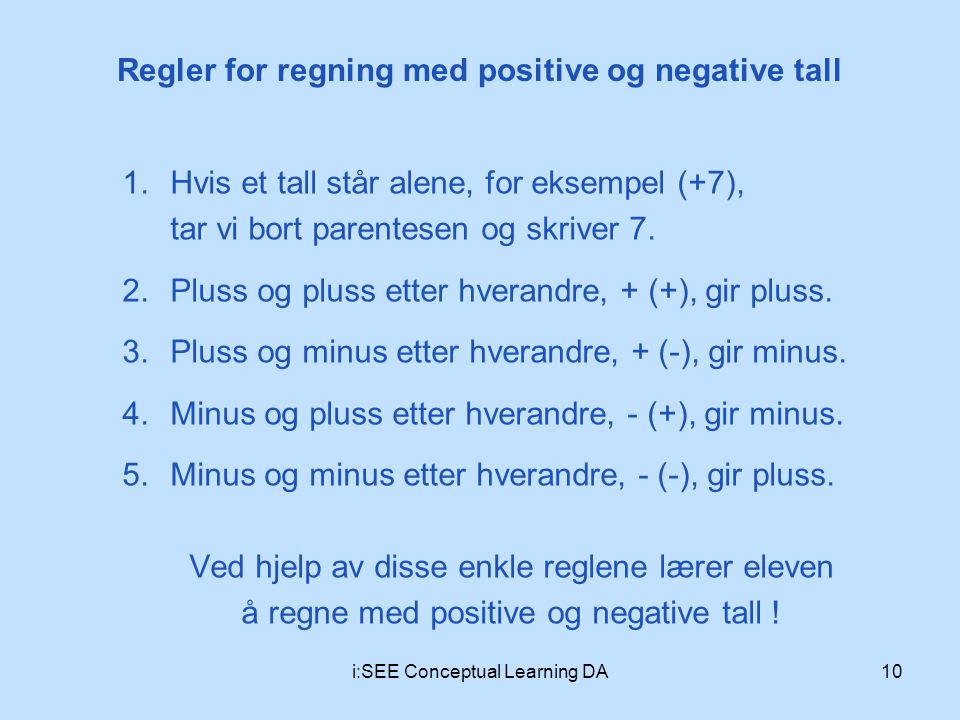 Regler for regning med positive og negative tall