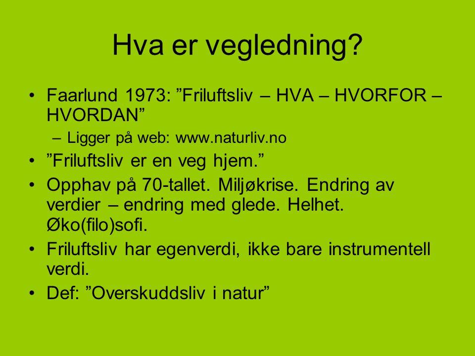 Hva er vegledning Faarlund 1973: Friluftsliv – HVA – HVORFOR – HVORDAN Ligger på web: www.naturliv.no.