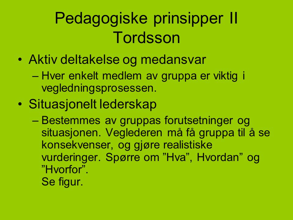 Pedagogiske prinsipper II Tordsson