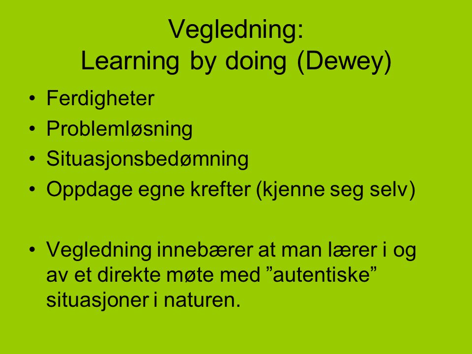Vegledning: Learning by doing (Dewey)