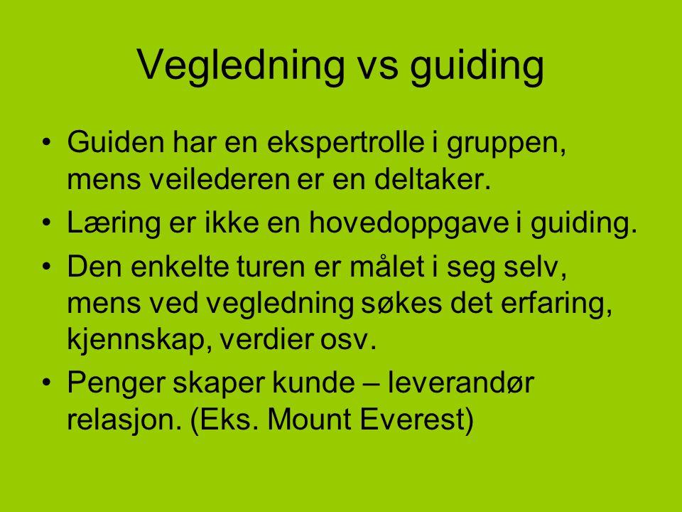 Vegledning vs guiding Guiden har en ekspertrolle i gruppen, mens veilederen er en deltaker. Læring er ikke en hovedoppgave i guiding.