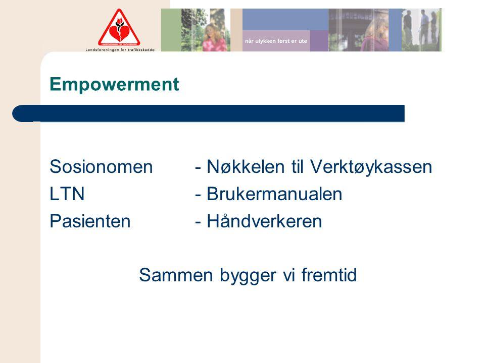 Empowerment Sosionomen - Nøkkelen til Verktøykassen LTN - Brukermanualen Pasienten - Håndverkeren Sammen bygger vi fremtid