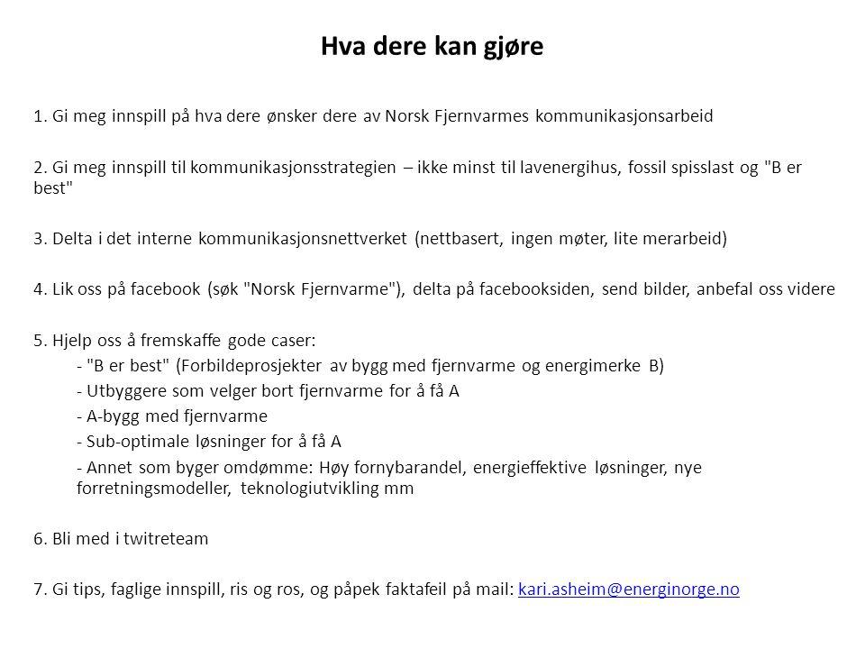 Hva dere kan gjøre 1. Gi meg innspill på hva dere ønsker dere av Norsk Fjernvarmes kommunikasjonsarbeid.