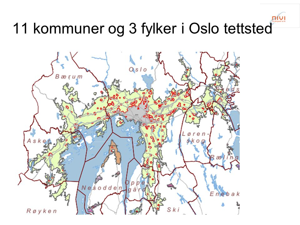 11 kommuner og 3 fylker i Oslo tettsted