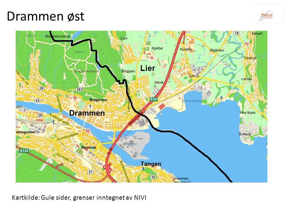 Drammen øst Lier Kartkilde: Gule sider, grenser inntegnet av NIVI