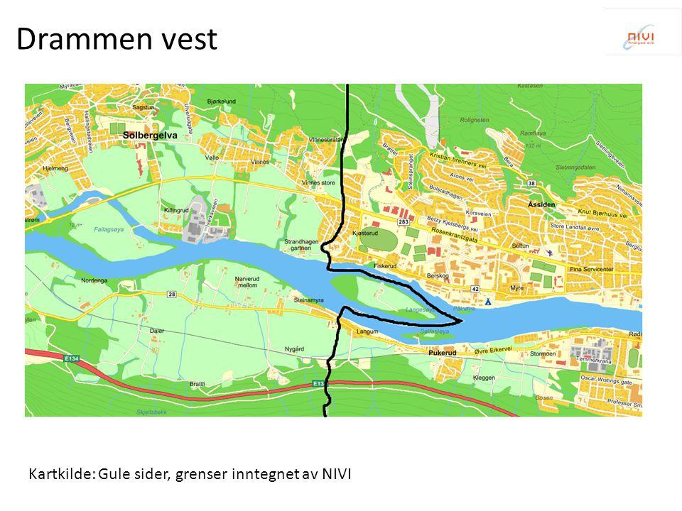 Drammen vest Kartkilde: Gule sider, grenser inntegnet av NIVI