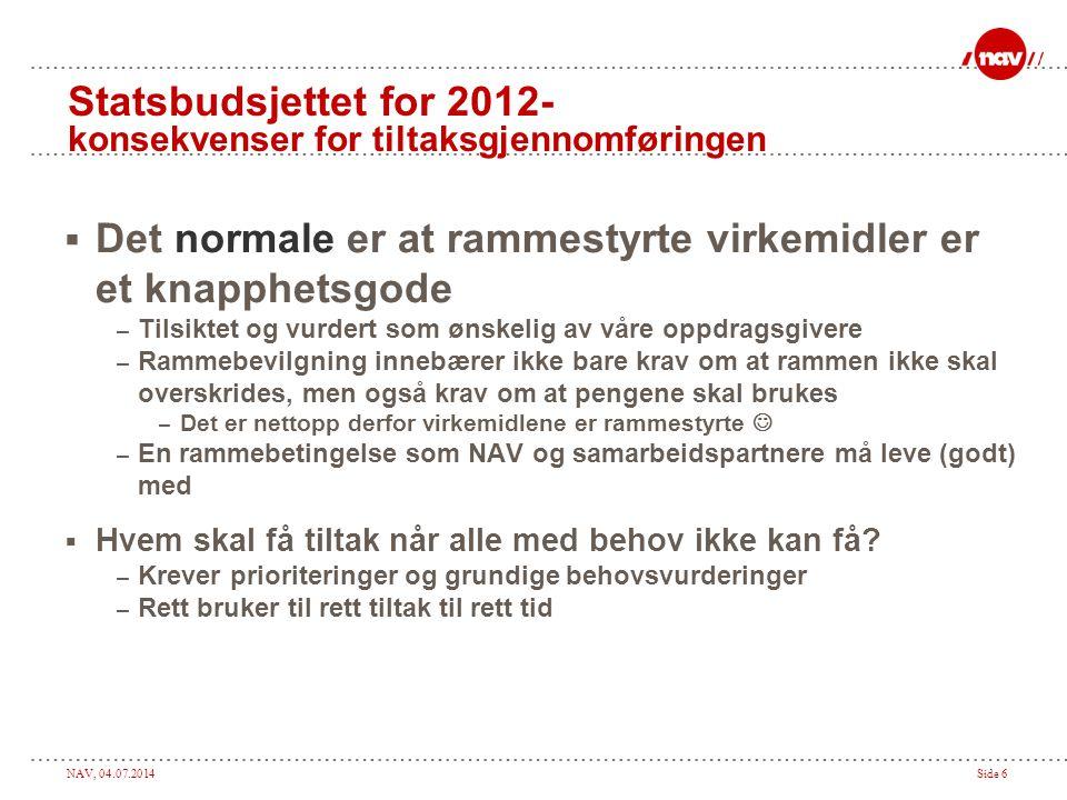 Statsbudsjettet for 2012- konsekvenser for tiltaksgjennomføringen