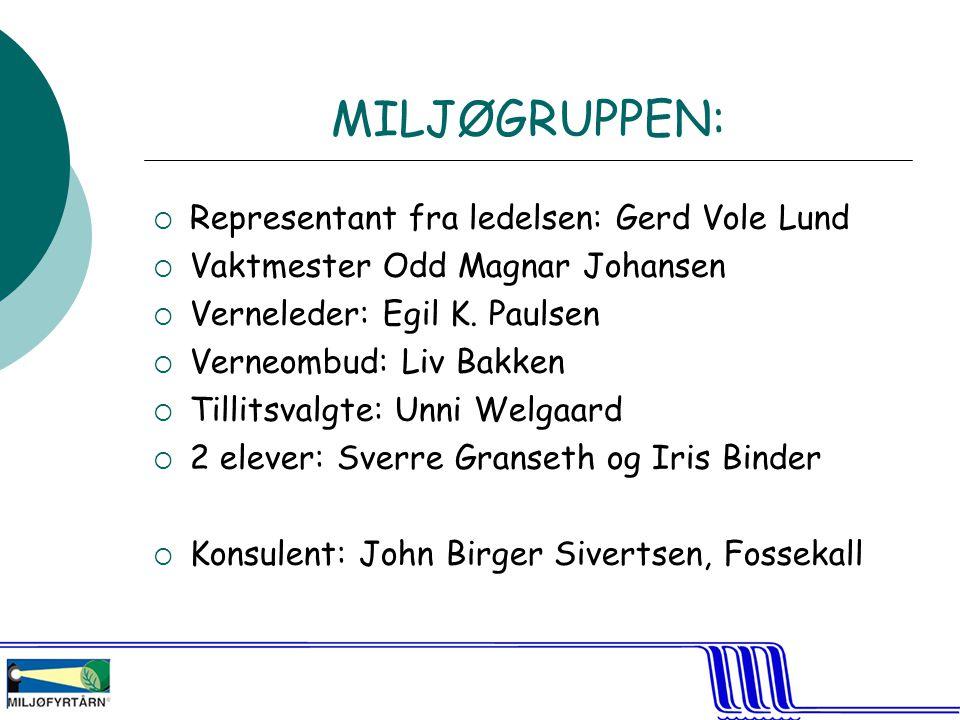MILJØGRUPPEN: Representant fra ledelsen: Gerd Vole Lund
