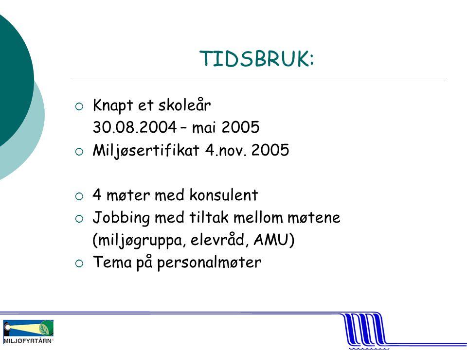 TIDSBRUK: Knapt et skoleår 30.08.2004 – mai 2005