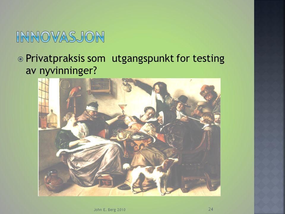 Innovasjon Privatpraksis som utgangspunkt for testing av nyvinninger