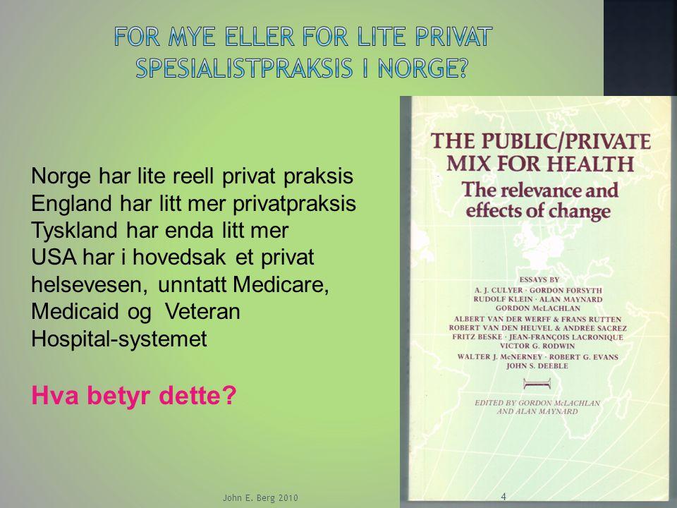 For mye eller for lite privat spesialistpraksis i Norge