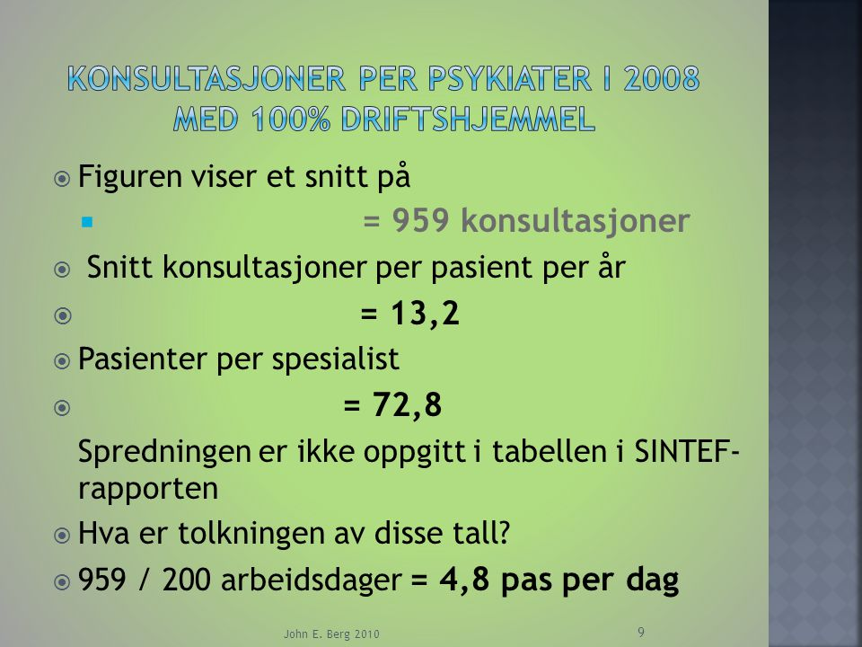 Konsultasjoner per psykiater i 2008 med 100% driftshjemmel