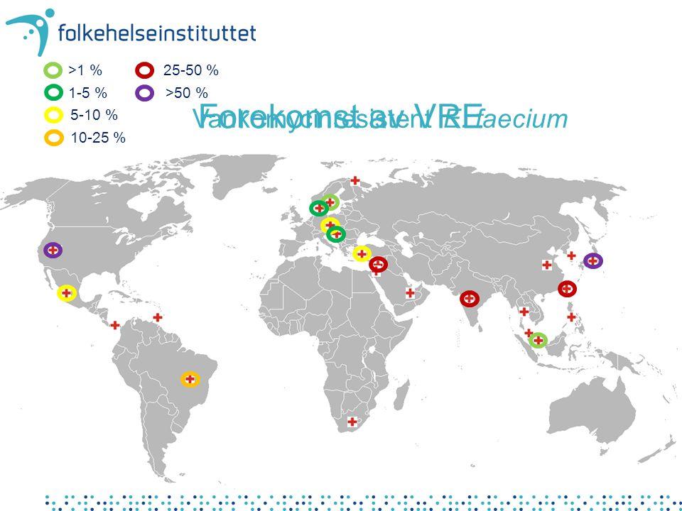 Forekomst av VRE Vankomycinresistent E. faecium