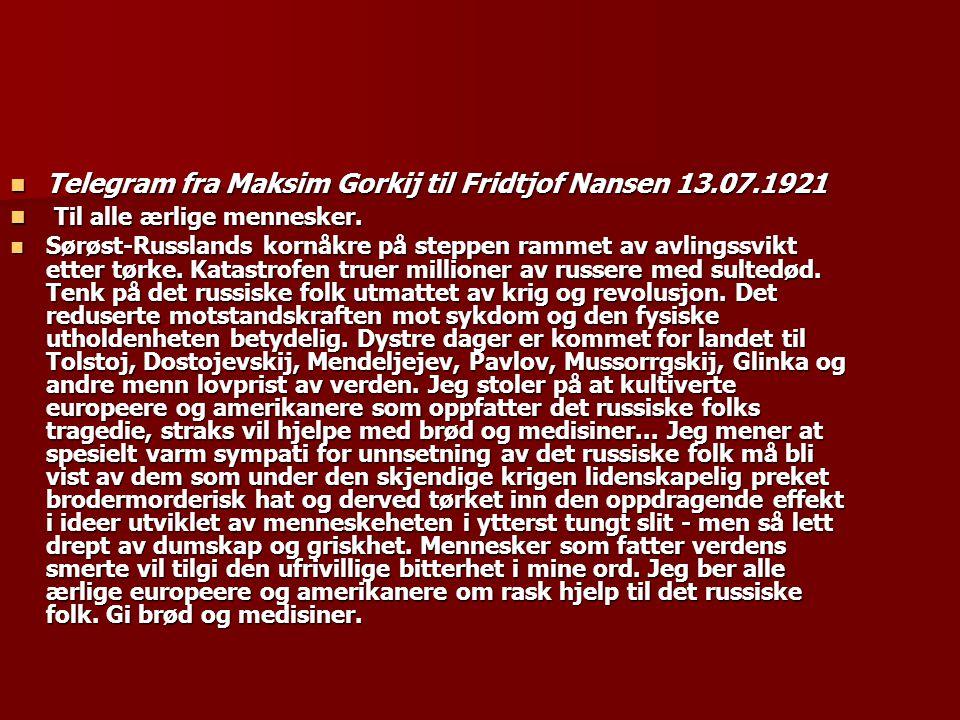 Telegram fra Maksim Gorkij til Fridtjof Nansen 13.07.1921