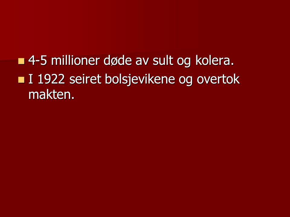 4-5 millioner døde av sult og kolera.