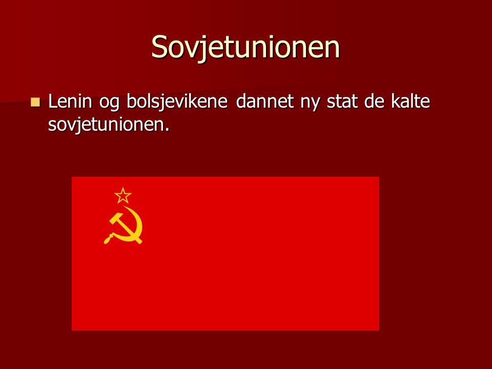 Sovjetunionen Lenin og bolsjevikene dannet ny stat de kalte sovjetunionen.