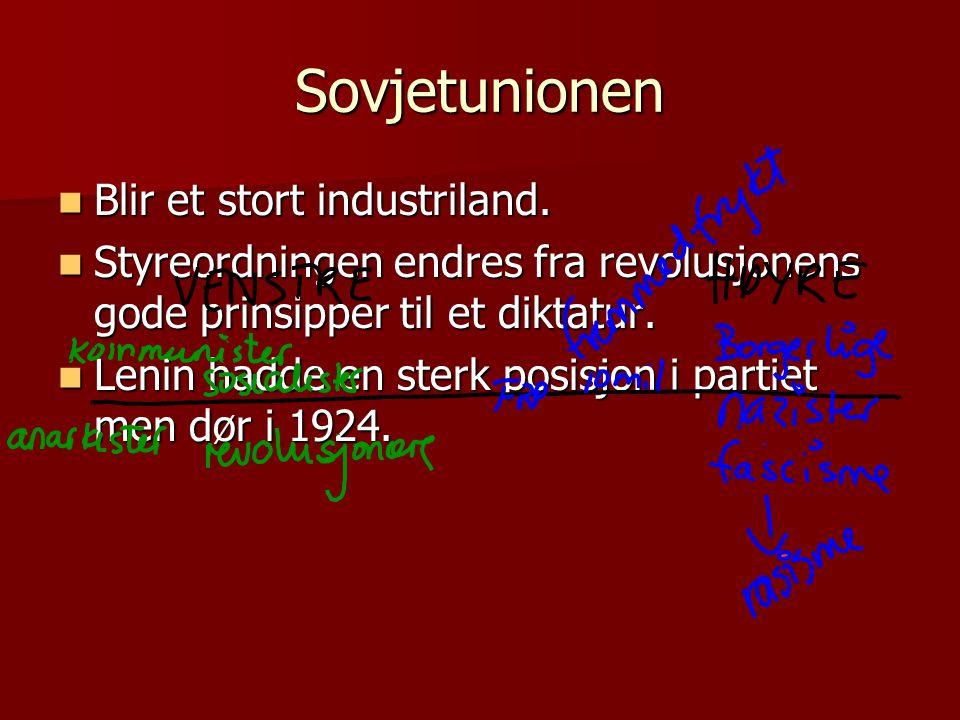 Sovjetunionen Blir et stort industriland.