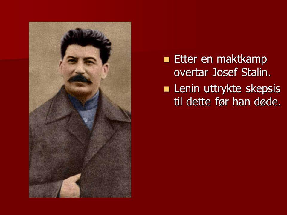 Etter en maktkamp overtar Josef Stalin.