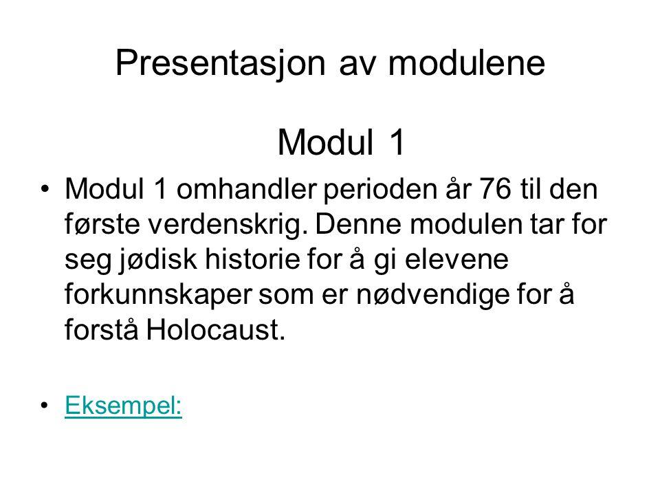 Presentasjon av modulene