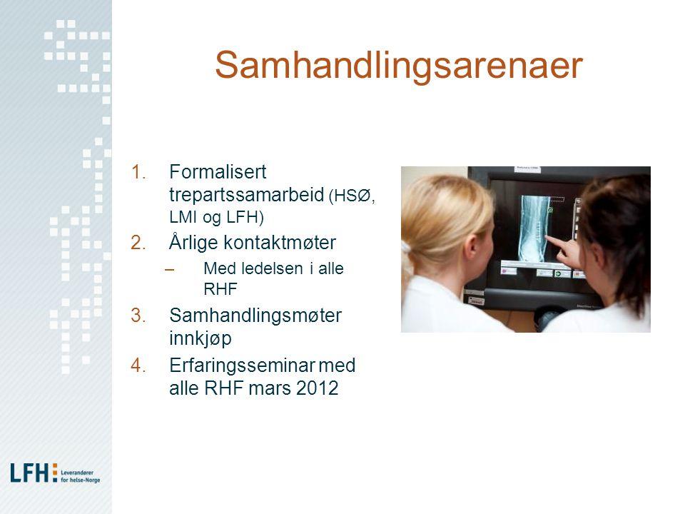 Samhandlingsarenaer Formalisert trepartssamarbeid (HSØ, LMI og LFH)