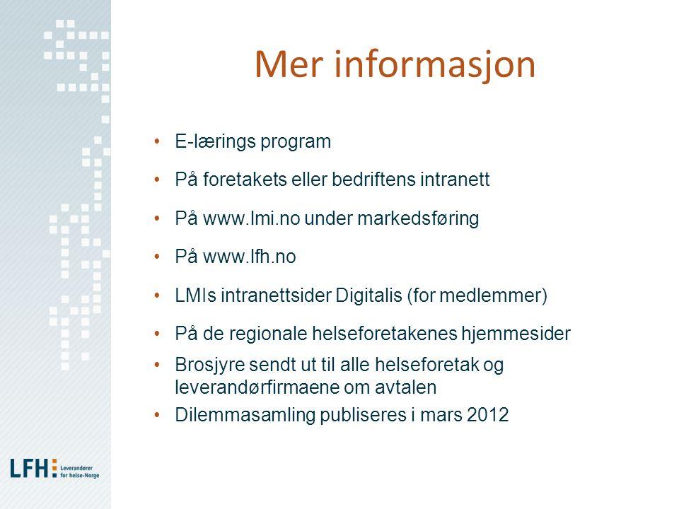 Mer informasjon E-lærings program