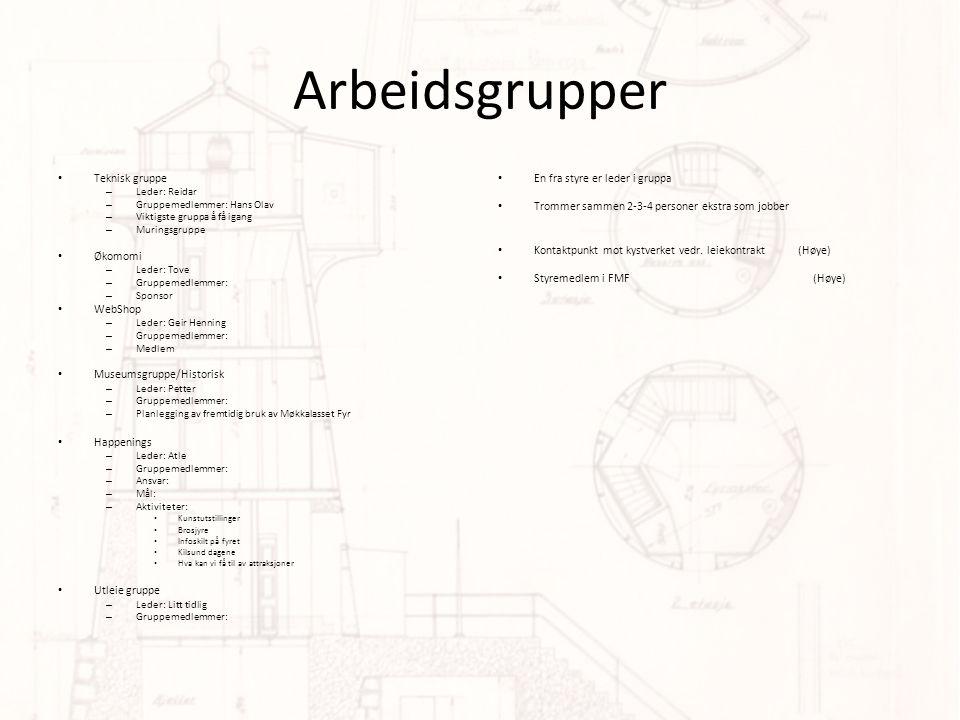 Arbeidsgrupper Teknisk gruppe Økomomi WebShop Museumsgruppe/Historisk