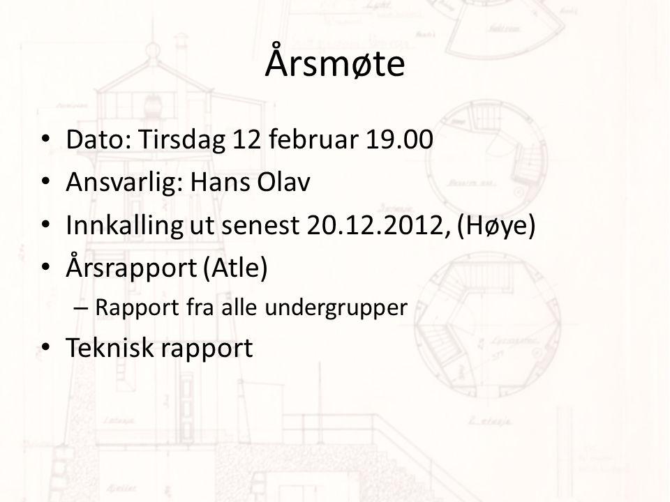 Årsmøte Dato: Tirsdag 12 februar 19.00 Ansvarlig: Hans Olav
